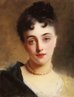 Gustave Jacquet painting: An Elegant Lady with Pearls
