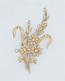 A Georgian topaz flower brooch (note the ribbon)   circa 1820,   Christie's Sale 5383   Jewels at South Kensington   7 October 2008