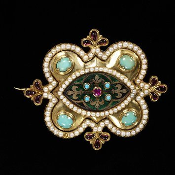 Enamelled gold brooch, set with a ruby, cabochon garnets, turquoises and pearls, England,1848   V&A Museum