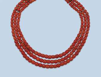 Antique coral bead necklace (red), Dutch mid 19th century Christie's Sale 3011 Amsterdam Jewels and Watches 10 October 2012 Amsterdam