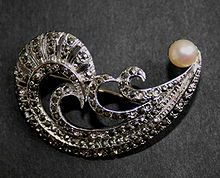 Marcasite brooch made from pyrite and silver