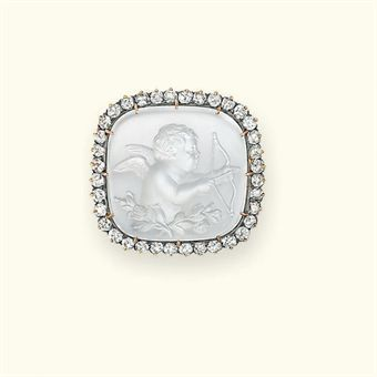 Christie's Sale 7853   Jewels – The London Sale   9 June 2010   London, King Street   A VICTORIAN MOONSTONE AND DIAMOND CAMEO BROOCH, circa 1890.  Cupid with bow and arrow.