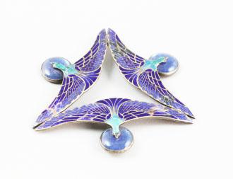 Art Nouveau Cloisonne enamel and glass piece    with bird motif