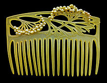 Carved horn hair comb with seed pearls c1905, Louis Aucoc