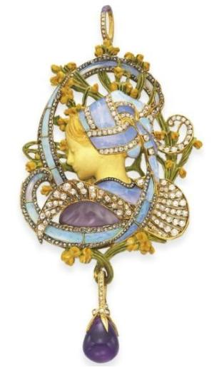 "Henri Vever ""La Bretonne"" Pendant, circa 1900.  Lang's Jewelry University."