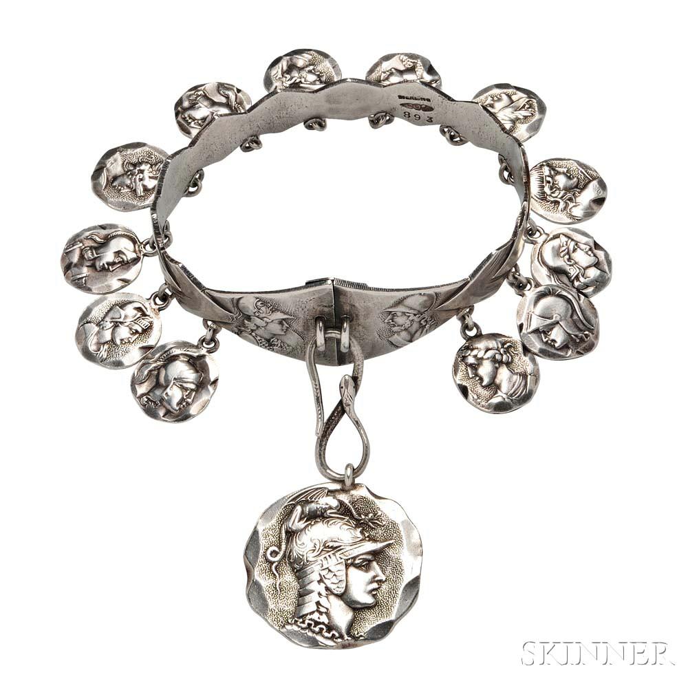 Sterling Silver Bracelet,George W. Shiebler & Co,. Skinner Auctions.