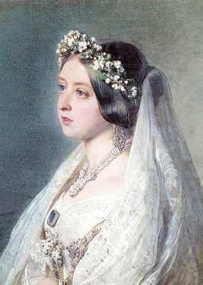 Portrait of Queen Victoria wearing a myrtle bridal tiara.