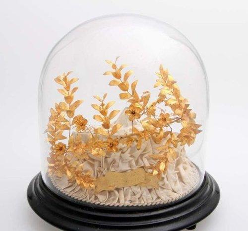 Antique Golden Myrtle Crown in globe. Elder and Bloom.