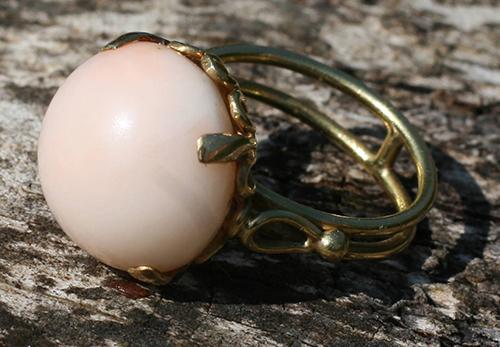 Vintage Italian Angel Skin Coral Ring. Elder and Bloom.