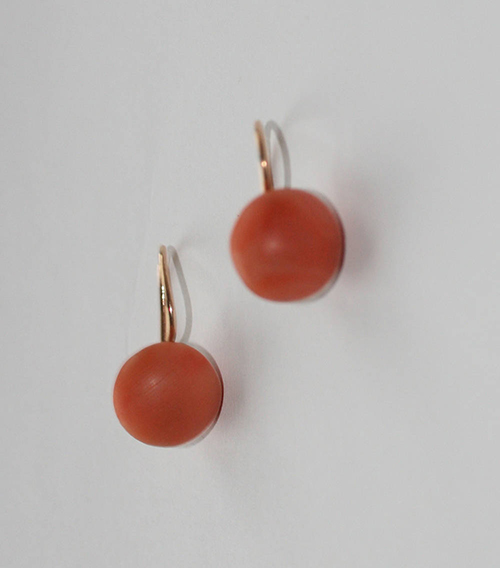 Victorian salmon coral gold 'button' earrings. Elder and Bloom.