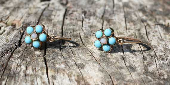 Turquoise and seed pearl antique earrings. Elder and Bloom.