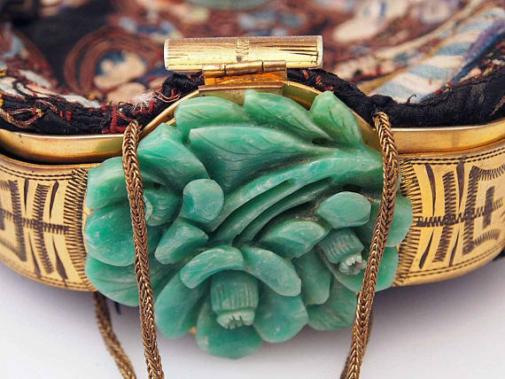Art Deco carved jade handbag clasp. Elder and Bloom.