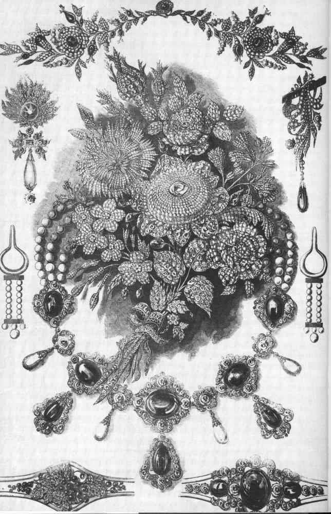 Plate 24. Group of jewellery selected from the costly and elegant assortment exhibited by Messrs. Hunt and Roskell. Jewellery in the Great Exhibition from the 1851 Illustrated London News.