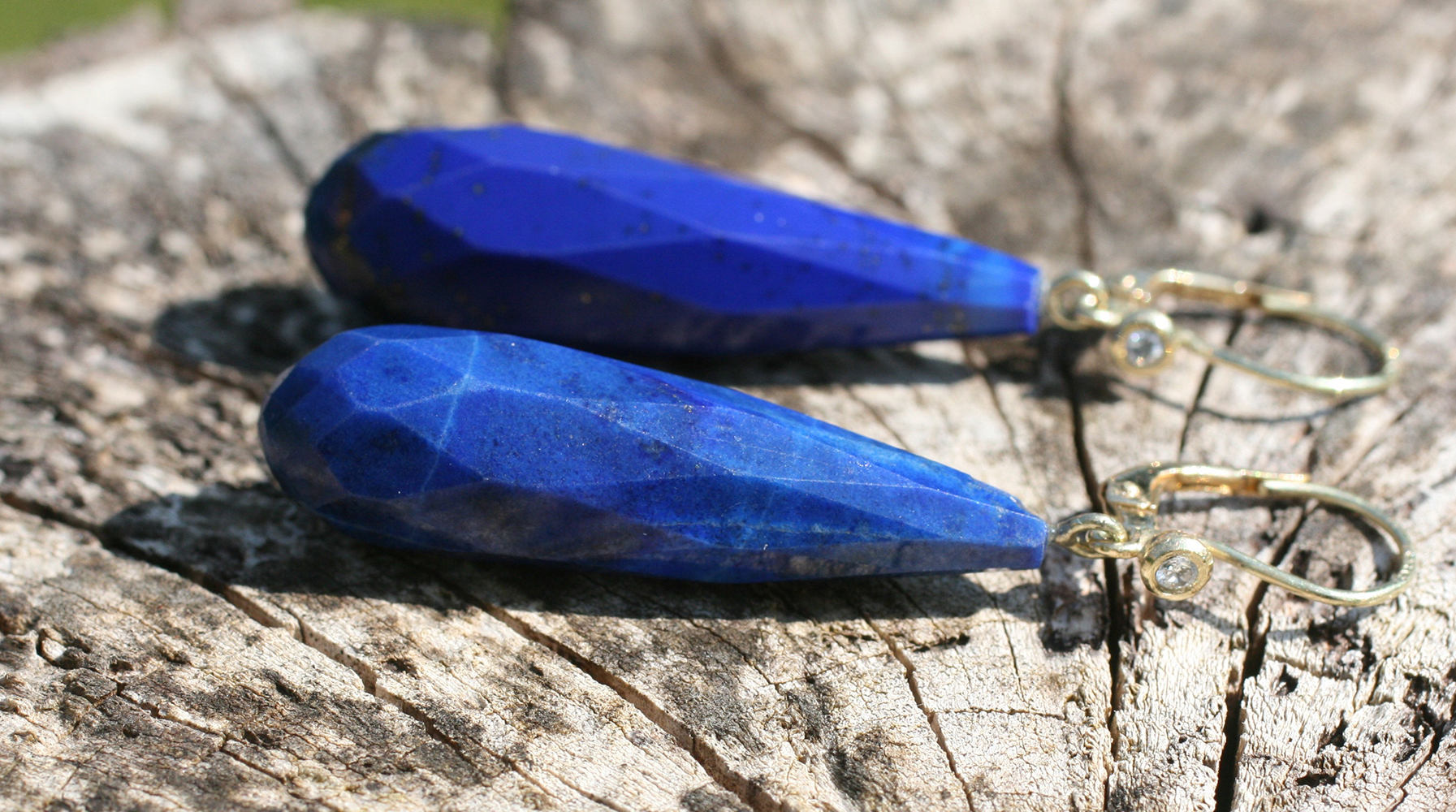 Art Deco Lapis Lazuli Diamond Gold Earrings. Elder and Bloom.