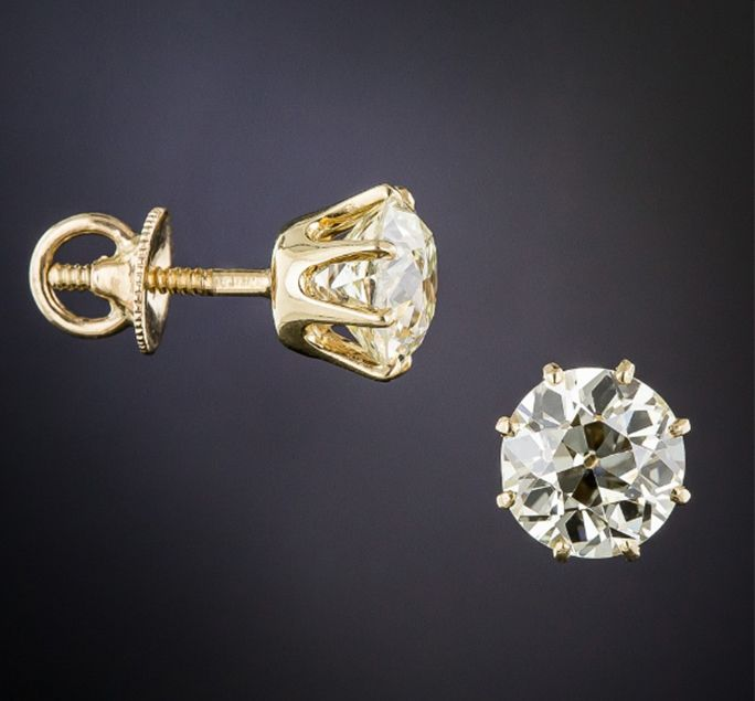3.50 Carat European Cut Diamond Stud Earrings, c. 1900. Photo courtesy of LangAntiques.com (Note the 'threaded posts' - these can be indicative of a finer piece).