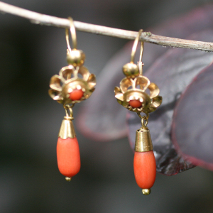 Antique gold and coral 'Top and Drop' earrings. Elder and Bloom.