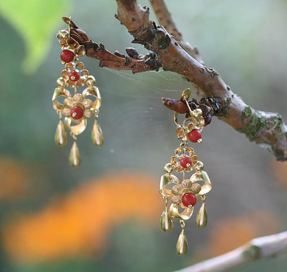 Antique gold and coral Spanish Girandole earrings.