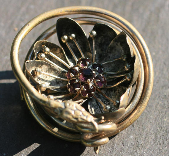 Early Jugendstil Brooch. Elder and Bloom.