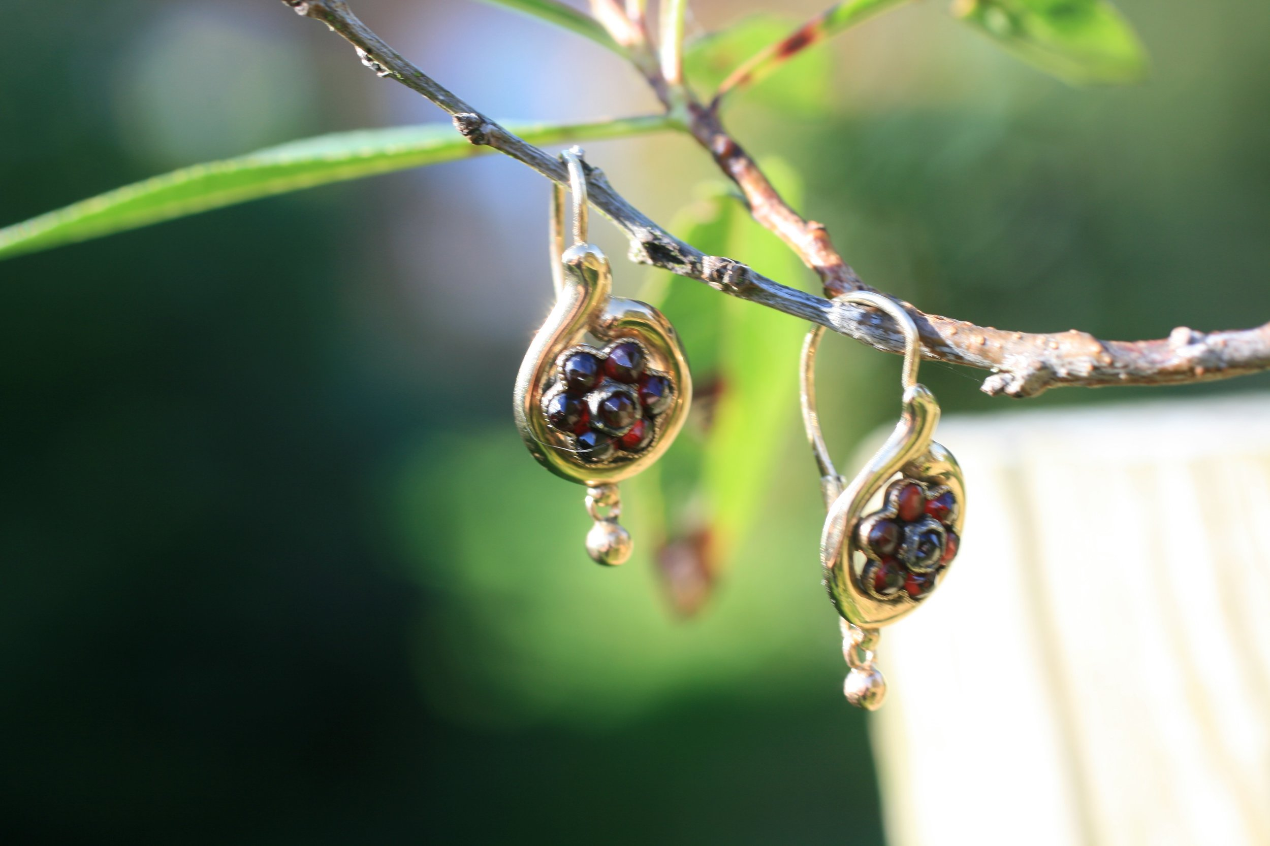 Victorian garnet gold earrings. Elder and Bloom.