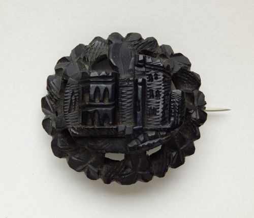 Victorian bog oak brooch.