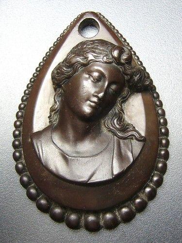 Victorian Vulcanite cameo pendant.