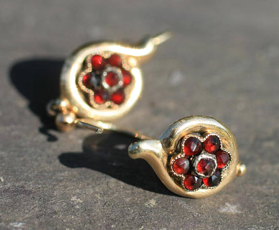 Victorian Garnet Earrings. Elder and Bloom.