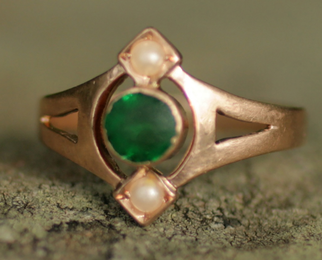Antique emerald and pearl ring. Elder and Bloom.