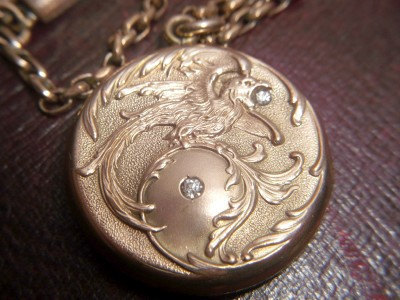 Art Nouveau Phoenix locket. Previously sold by Elder and Bloom. For more information see  here.