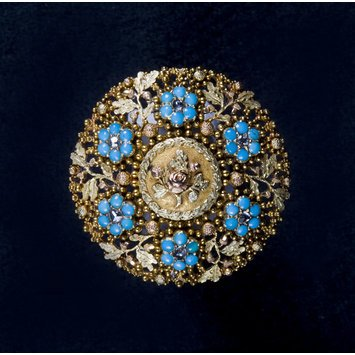 Forget-me-not, rose and acorn motif. The acorn symbolized strength and longevity.   Paris, c. 1820-1840 Brooch with gold, diamonds and turquoises. V&A Museum