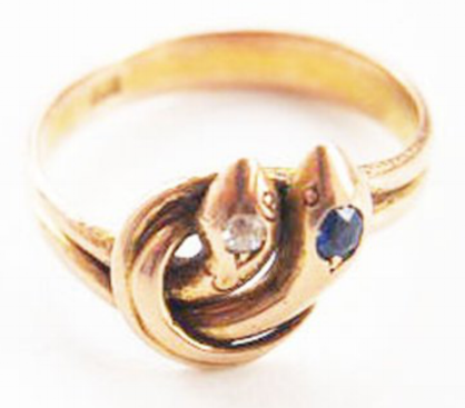 Victorian gold serpent ring. Elder and Bloom.