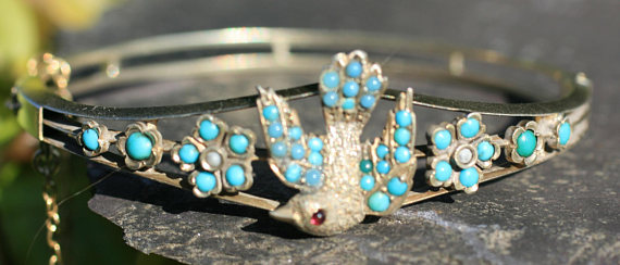 Victorian turquoise and silver bird bangle. Elder & Bloom.