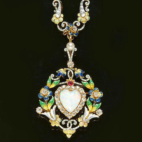 A Diamond, Opal, Pearl, Ruby and Enamel Necklace  circa 1890:  Source:  www.bonhams.com/auctions/10791/lot/58/