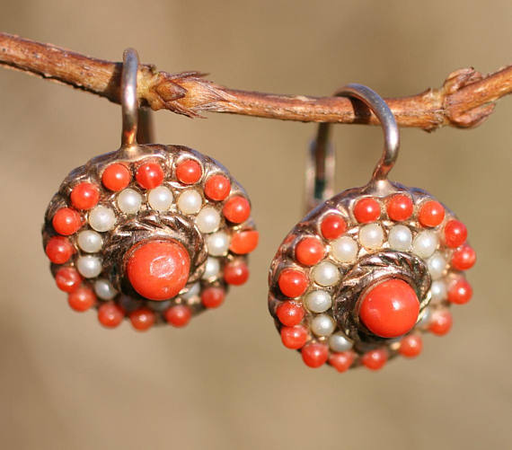 Victorian Coral 14 k Seed Pearl Earrings.jpg