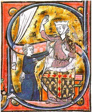 The earliest known visual depiction of a heart symbol, as a lover hands his heart to the beloved lady, in a manuscript of the   Roman de la poire 'mid-13th century.