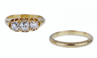 A THREE-STONE DIAMOND RING AND WEDDING BAND   Comprising: a diamond ring set with three cushion-shaped diamonds of graduated size,  size J, stamped '18', British hallmarks and date inscription to inner band, estimated total diamond weight approximately 0.90ct;  and a wedding band of engraved design,  size K, stamped '18', British hallmarks and maker's mark  (2) Undated  SOURCE: Bonhams