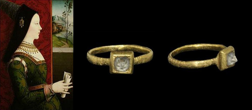 This engagement ring was commissioned in 1477 by Archduke Maximilian of Austria for his betrothed, Mary of Burgundy. It is believed that he sent her a letter proposing marriage along with the ring.