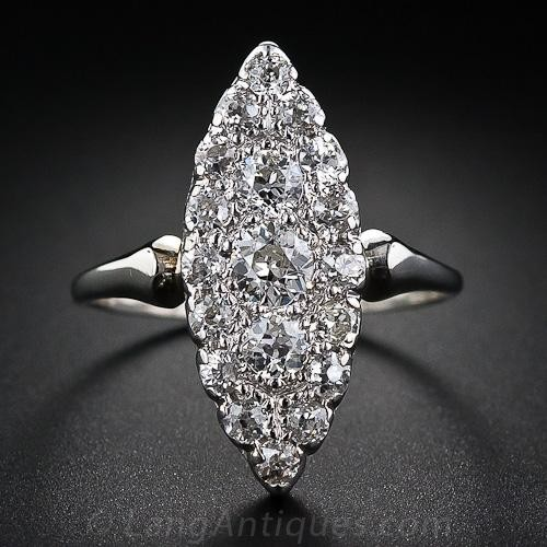 Antique Diamond Navette Ring. Langs Antiques.