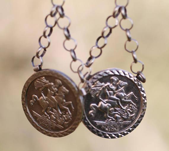 Vintage St. George and Dragon 10 k Gold Earrings.jpg