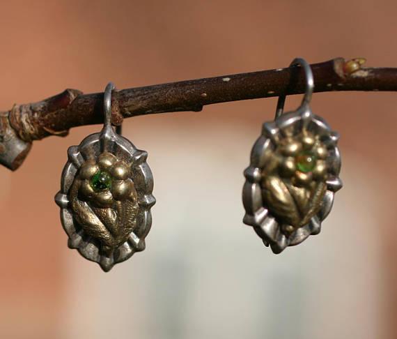 Victorian Gilded Green Bead Earrings.jpg