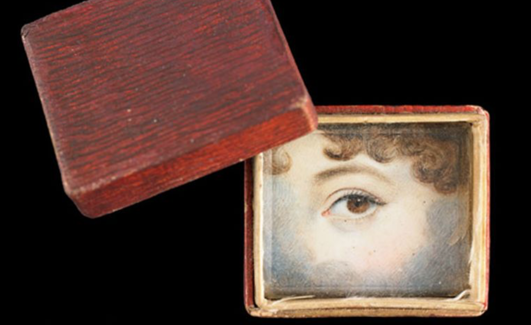 "A ""memory box"" made of embossed and painted paper containing eye miniature, ca. 1830.   (Credit: Skier Collection)"