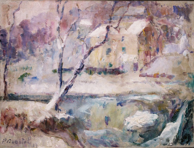 """Addingham in the Snow"" 1932-Oil on canvas 26"" x 32"""