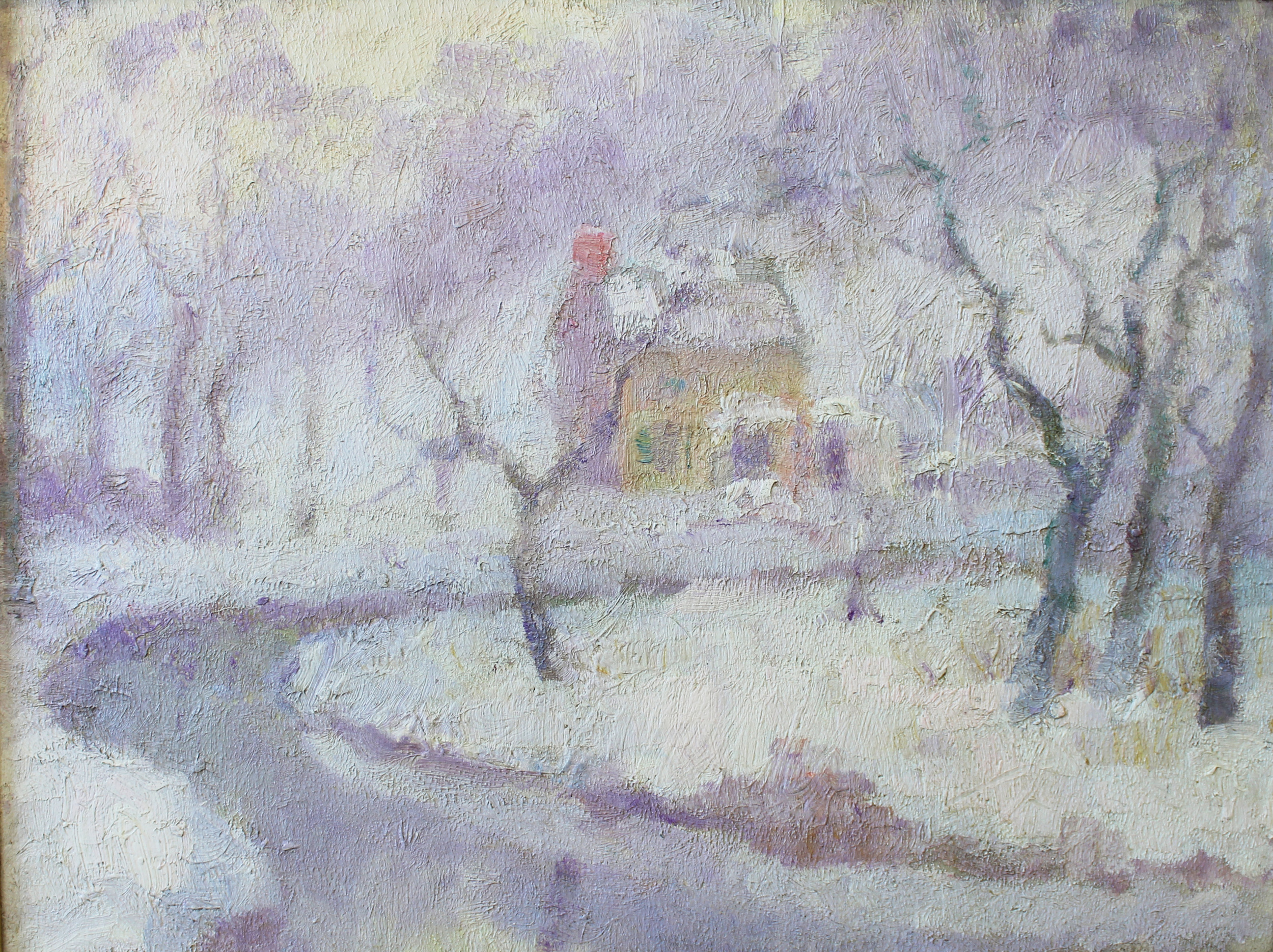 """ House by River Snow"" 1932- Oil on Board 12"" x 16"""