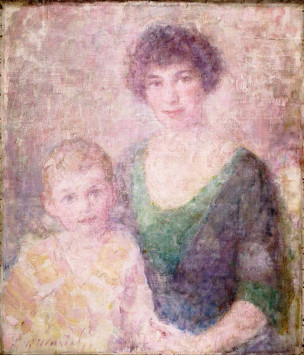 """""""Remi and Muriel"""" 1922- Oil on Canvas 40 1/2"""" x 36 3/4"""""""