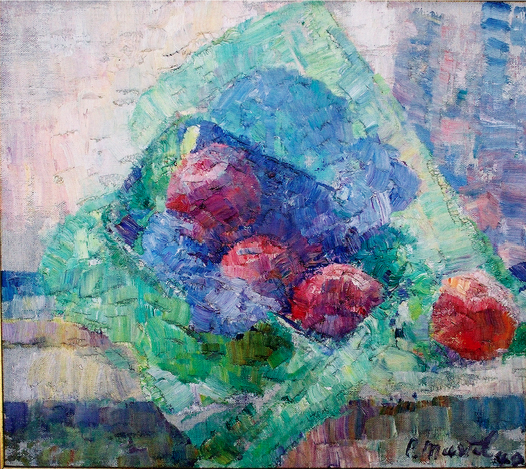 """Red Apples"" 1940-Oil on Canvas 17 3/4"" x 19 1/2"""
