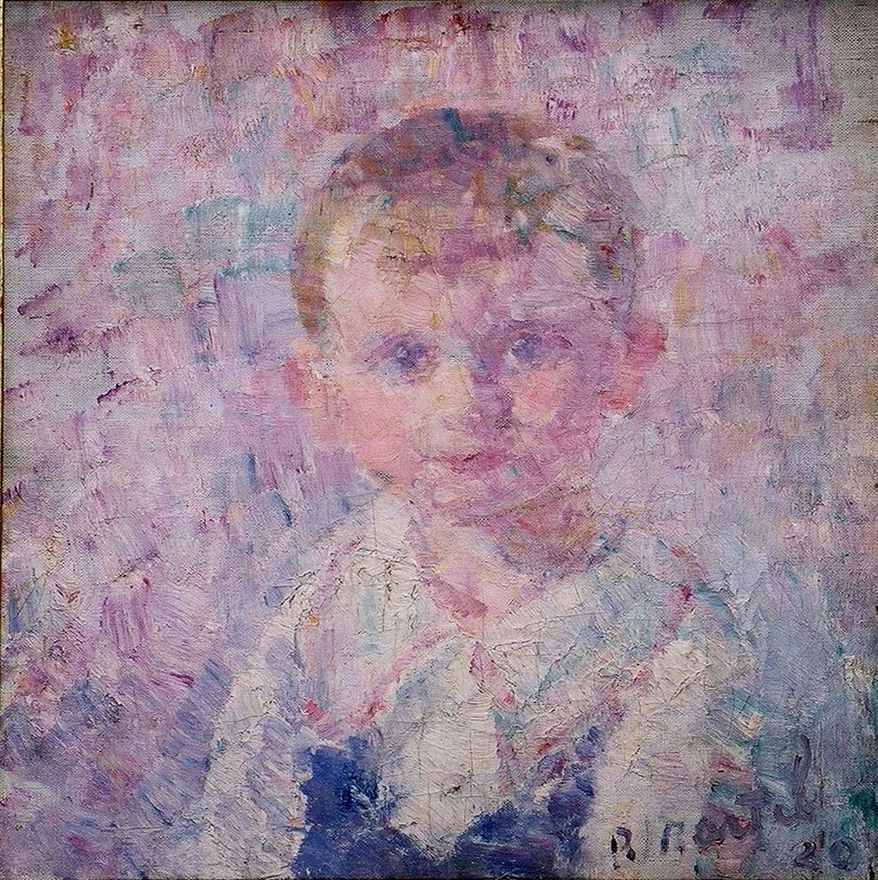 """""""Portrait of Young Boy"""" 1920-Oil on Canvas 19""""x 18"""""""