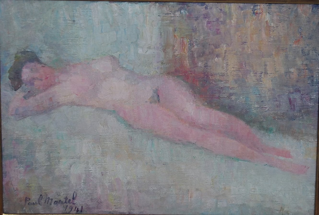 """Reclining Nude"" 1941- Oil on Board 23 3/4"" x  30 1/2"""