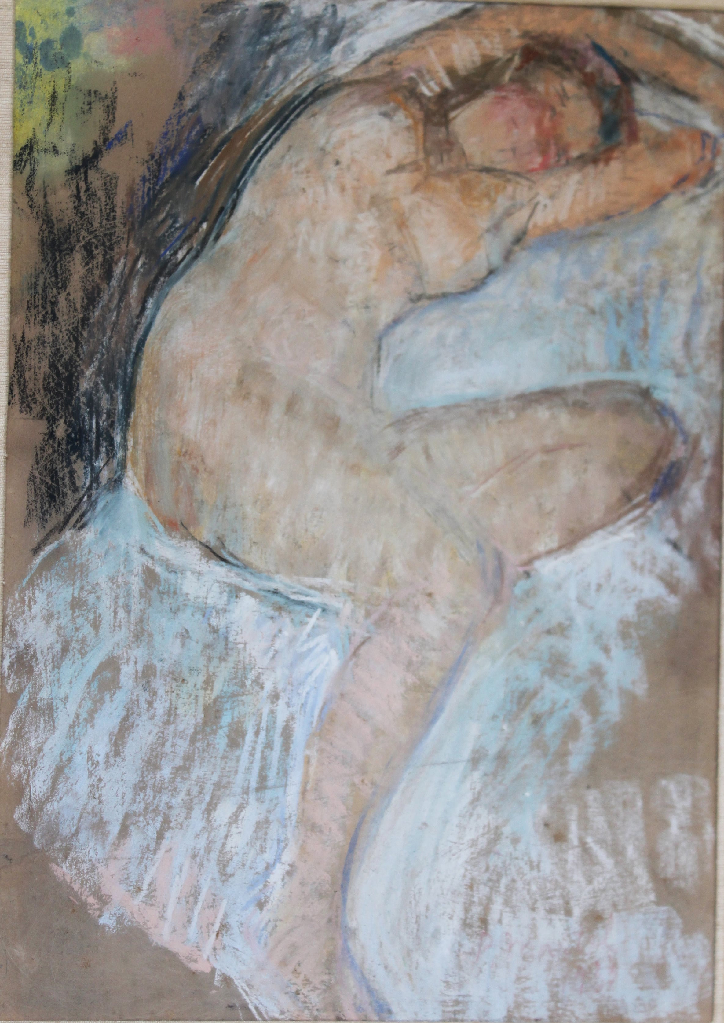 """Reclining Nude"" 1921-Pastel on paper 12"" x 9 1/2"""