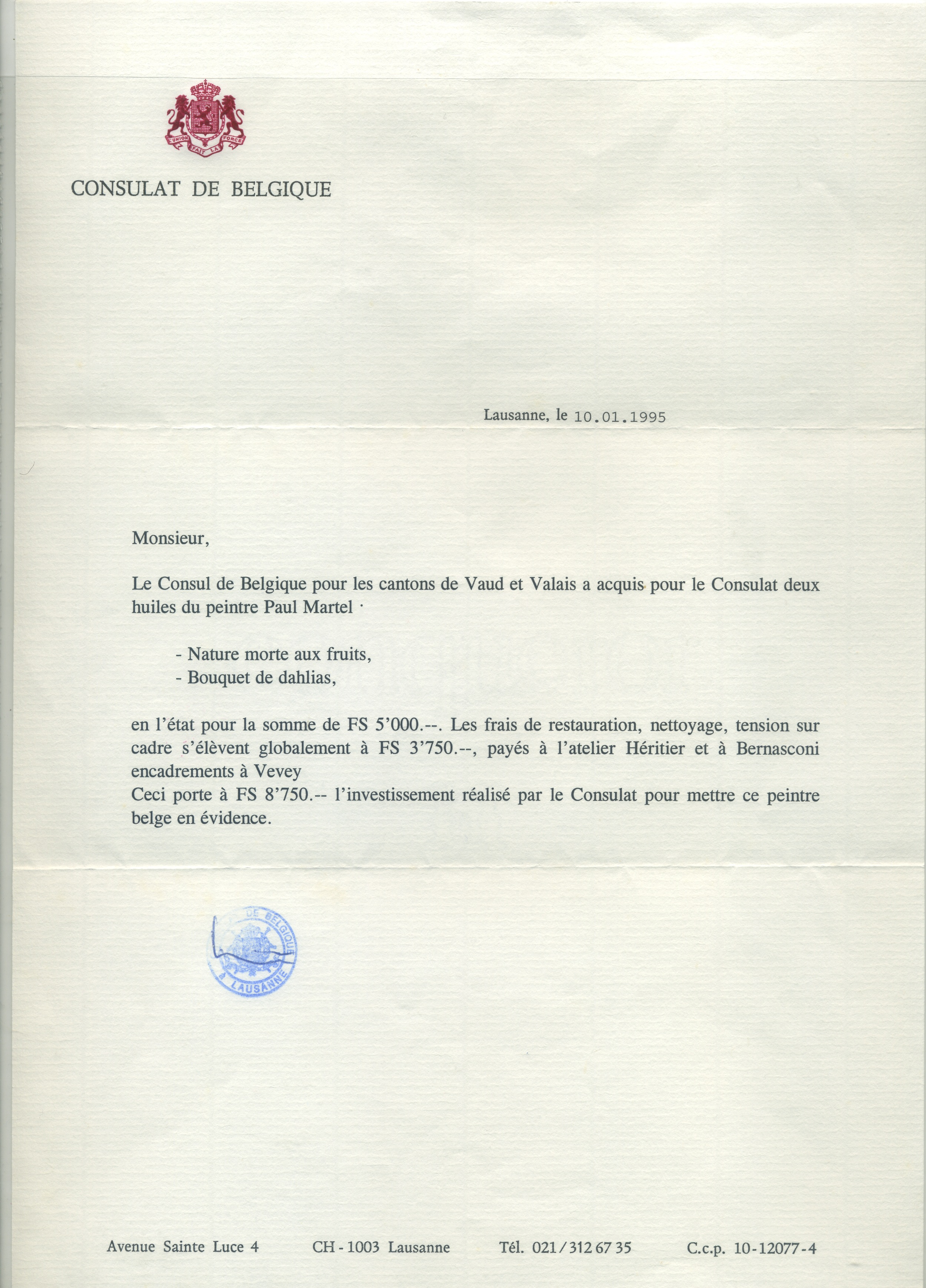 "Belgian Consulate Aquisition of 2 paintings in 1995 ""Fruit Still Life"" and ""Bouquet of Dahlias"""
