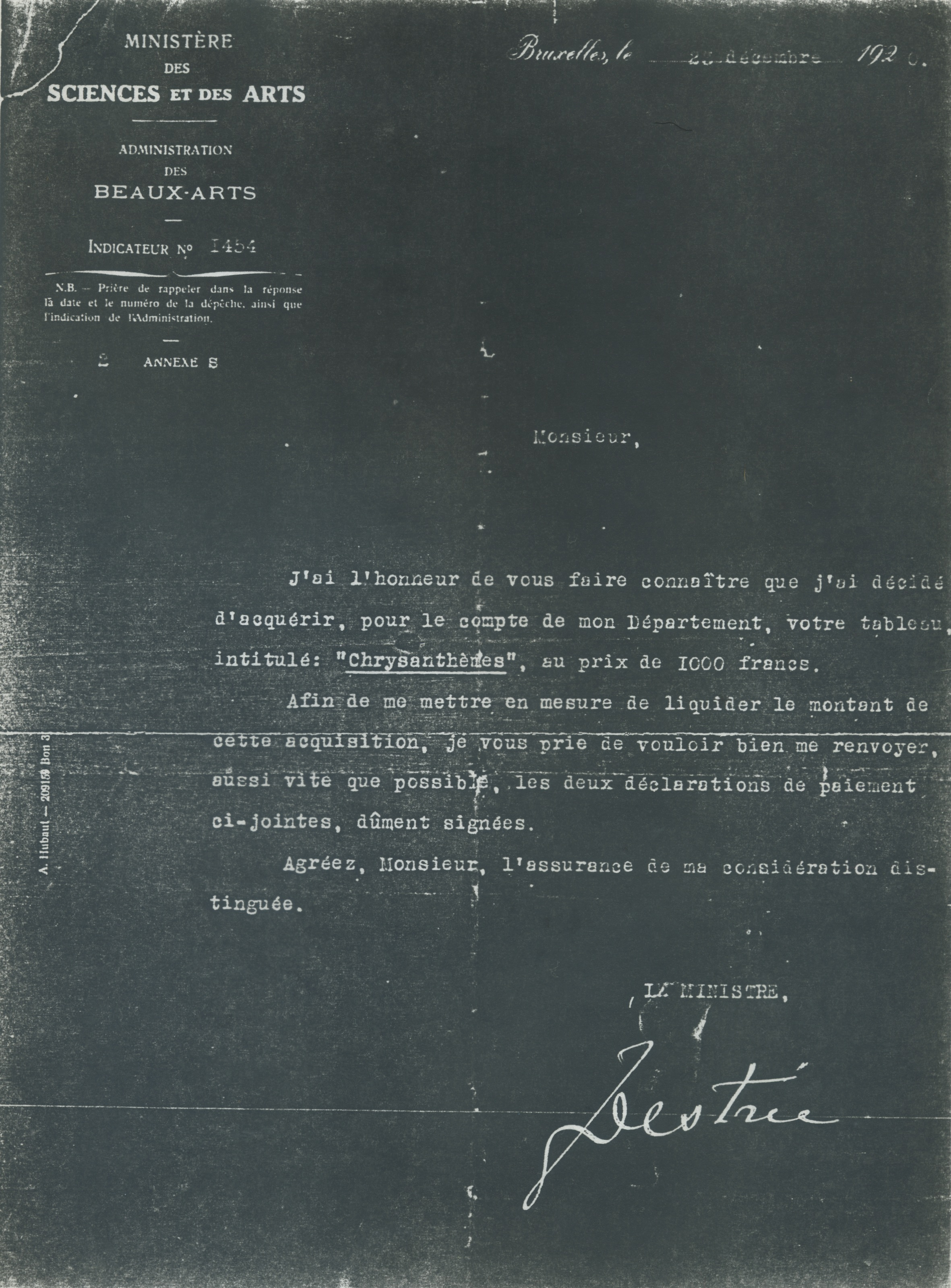 "Letter from the Belgian Government purchase of ""Chrysanthemums""-1920"