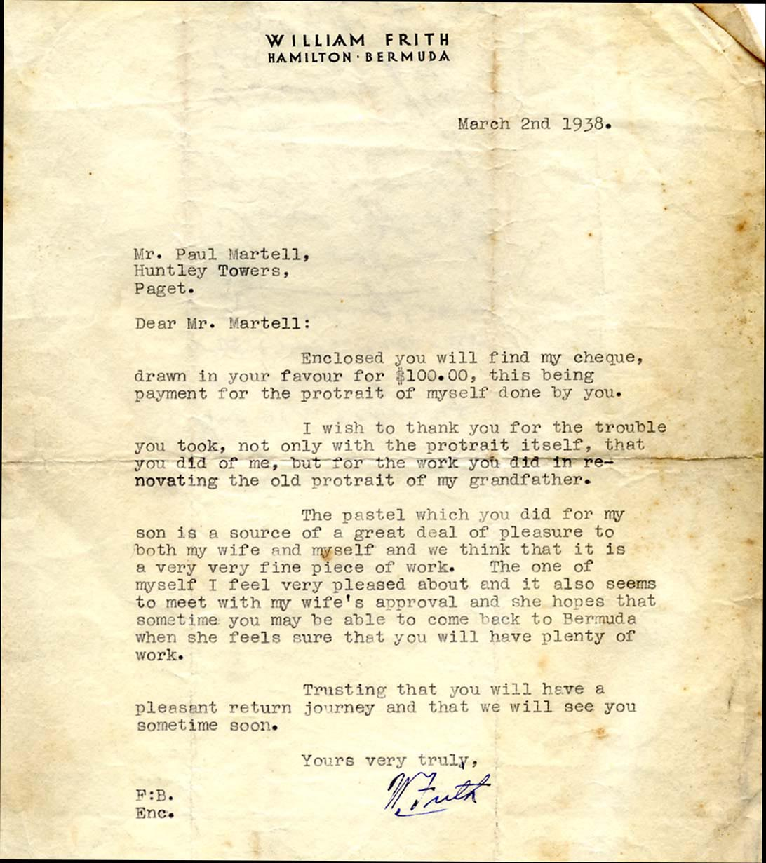 William Frith Letter thanking him for his portrait- and his sons portrait-March 2nd 1938